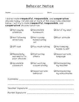 Behavior Checklist for Parents