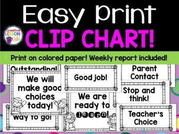Behavior Clip Chart - Black and White