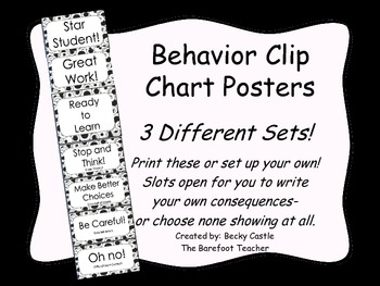 Behavior Clip Chart ~3 Different sets to choose from, blac