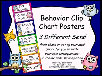 Behavior Clip Chart ~3 Different sets to choose from, owls bright color design