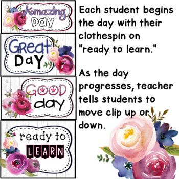 Behavior Clip Chart Farmhouse Classroom Decor Theme