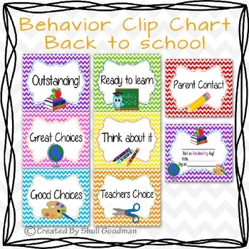 Behavior Clip Chart - Back to school chevron