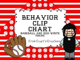 Behavior Clip Chart- Baseball Theme and Editable Red/White Theme