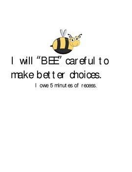 Behavior Clip Chart Bee Themed
