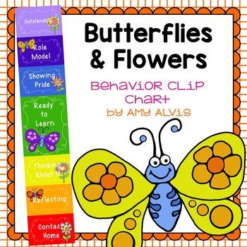 Behavior Clip Chart - Behavior Management - BUTTERFLIES & FLOWERS
