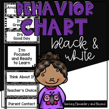 Black and White Behavior Clip Chart Including an fillable Version