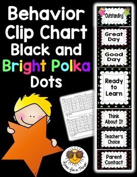 Behavior Clip Chart {Black and Bright Polka Dots}