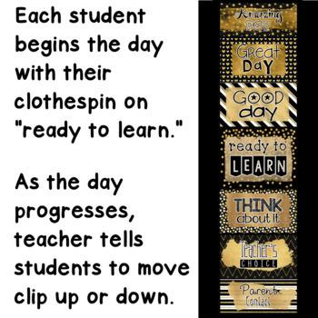 Behavior Clip Chart Black and Gold Classroom Decor
