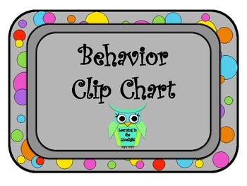 Behavior Clip Chart- Bright Dots with BONUS Poster