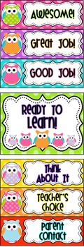 Behavior Clip Chart {Bright Owls Theme}