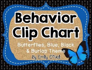 Behavior Clip Chart (Butterflies, Blue, Black & Burlap Theme)