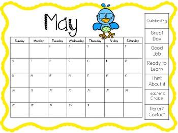 Behavior Clip Chart Calendar Freebie 2017-2018