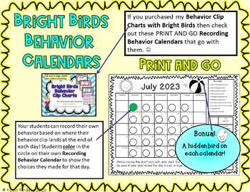 Behavior Clip Chart Calendars for Chevron/Bright Birds 2016-17