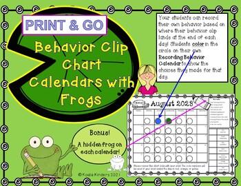Behavior Clip Chart Calendars for Frogs 2016-2017