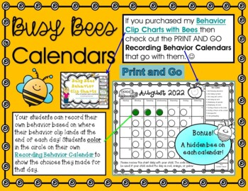 Behavior Clip Chart Calendars with Bees for 2016-2017
