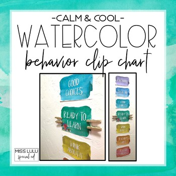 Behavior Clip Chart {Calm & Cool Watercolor}