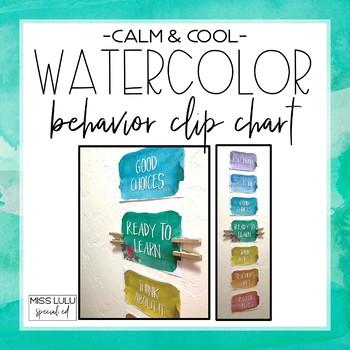 Behavior Clip Chart {Calm & Cool Watercolor}
