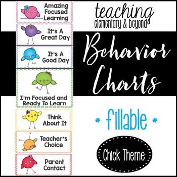 Behavior Clip Chart: Chick Theme {editable version included}