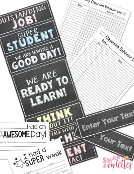 Behavior Clip Chart - Classroom Management - Editable Log Sheets - Chalk Board