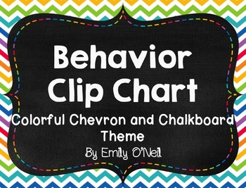 Behavior Clip Chart (Colorful Chevron & Chalkboard Theme)