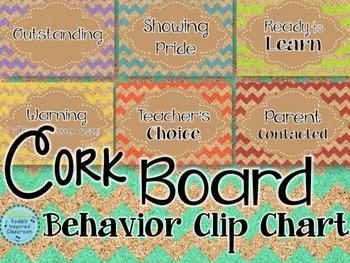 Behavior Clip Chart - Cork Board Chevron