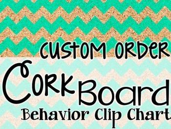 Behavior Clip Chart - Cork Board Chevron - Custom Order