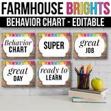 Behavior Clip Chart EDITABLE Behavior Chart Farmhouse Classroom Decor