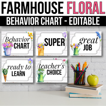 Behavior Clip Chart EDITABLE  Behavior Chart, Farmhouse Classroom Decor