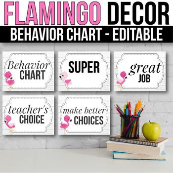 Behavior Clip Chart EDITABLE  Behavior Chart, Flamingo Classroom Decor