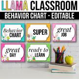 Behavior Clip Chart EDITABLE Behavior Chart LLama Classroom Decor