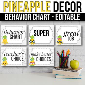 Behavior Clip Chart EDITABLE  Behavior Chart, Pineapple Classroom Decor