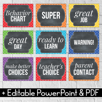 Behavior Clip Chart EDITABLE Behavior Chart Polka Dot Chalkboard Classroom Decor