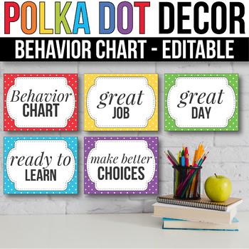 Behavior Clip Chart EDITABLE  Behavior Chart, Polka Dot Classroom Decor