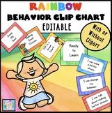 Behavior Chart EDITABLE Rainbow | Behavior Chart Clip Chart Rainbow EDITABLE
