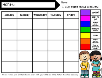 Behavior Clip Chart *EDITABLE with 7 different backgrounds*