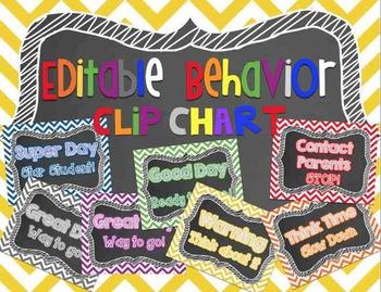 Behavior Clip Chart - EDITABLE~ChEvRoN & ChAlKbOaRd Manage