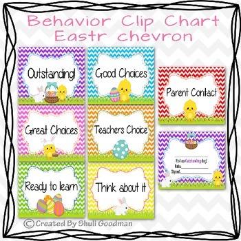 Behavior Clip Chart - Easter chevron