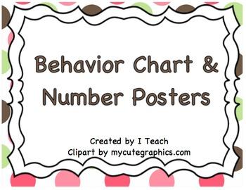 Behavior Clip Chart & Number Posters Polka Dot Brown~Bundle