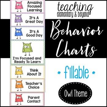 Behavior Clip Chart: Owl Theme {editable version included}