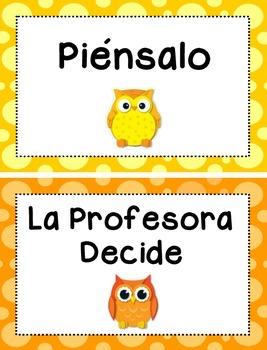 Behavior Clip Chart - Owls Theme {SPANISH}