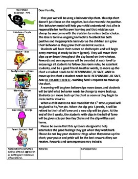 Behavior Clip Chart Parent letter