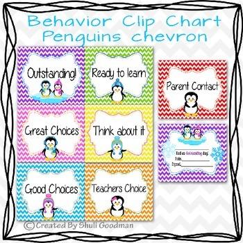 Behavior Clip Chart - Penguins chevron