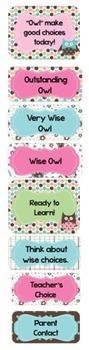 Behavior Clip Chart~ Polka Dot Owls