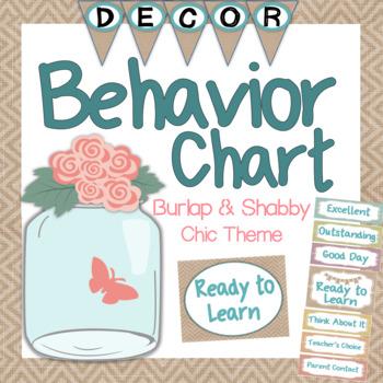 Behavior Clip Chart - Shabby Chic and Burlap Theme