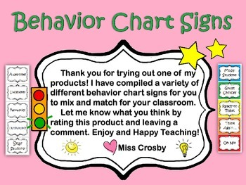 Behavior Clip Chart Signs