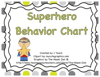 Behavior Clip Chart- Superhero Theme