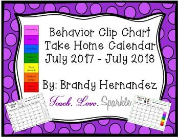 EDITABLE Behavior Chart Take Home Calendar 2017-2018