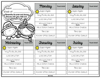 Behavior Clip Chart: Thanksgiving Edition