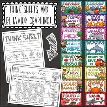 Behavior Clip Chart Think Sheet Bundle (Safari, Ocean, Monster, Camping, Space)