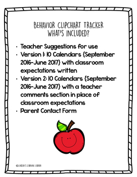 Behavior Clip Chart Tracker and Parent Communication Log
